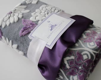 Mar Bella Ibiza and Valencia Collection in Violeta Purple, Gray and White - Baby Blanket, Damask, Grape, Plum, Crib Bedding, Nursery