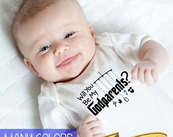 will you be my godparents? onesie with mobile and toys  |  baptism gift  |  asking godfather and godmother