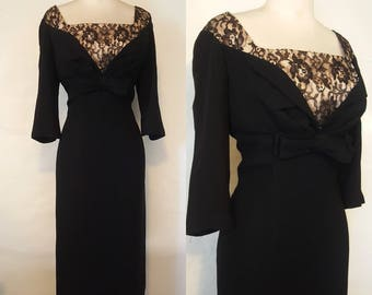Designer Sue Leslie of California wiggle pencil dress illusion lace neckline black crepe high end bombshell pin up rockabilly