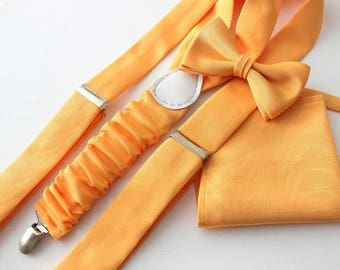 Suspender Set in peach matching bow tie and handkerchief