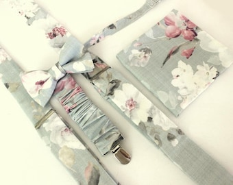 Suspender Set in light grey-floral,pink,coutrystyle