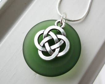 St. Patricks Day Jewelry - Irish Jewelry - St. Patricks Day Necklace - Celtic Knot Jewelry - Green and Silver - Irish Necklace