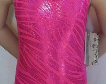 Gymnastic Leotard, Girls Sizes 2 to 12, Hot Pink Zebra Sparkle Gymnastics and Dance Leotard