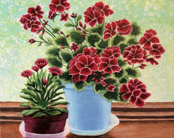 Geranium And Daisy Floral Still Life 16x16 Inch Wrapped Canvas Acrylic Painting