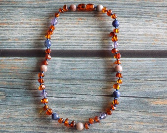 11.5 Inch Catch Some Zzzzzzzs, Deep Sleep Support Baltic Amber and Gemstone Knotted Necklace