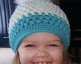 Toddler Winter Beanie with Faux Fur Pom Pom