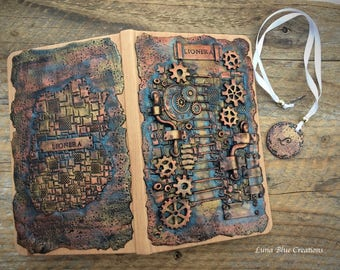 Polymer Clay Journal, Personalized Steampunk Journal, Personalized Sketchbook, Personalized Diary, Custom Journal, Custom Sketchbook, Diary