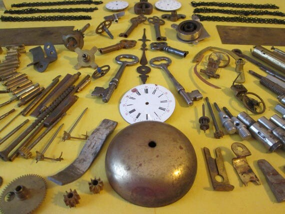 Steampunkers Dream Lot # 5 Antique & Vintage Clock + Watch Parts For Your Clock/Watch Projects, Jewelry Making