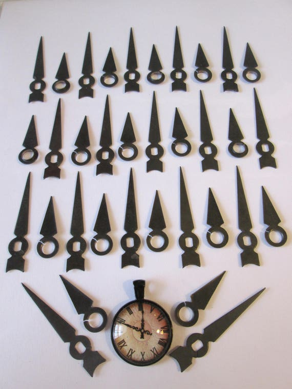 17 Pairs of Small Vintage Dark Gray Steel Arrow Design Clock Hands for your Clock Projects Steampunk Art, Jewelry Making