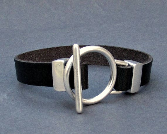Toggle Clasp Mens Leather Bracelet Silver Leather Mens Bracelet Cuff  Customized On Your Wrist