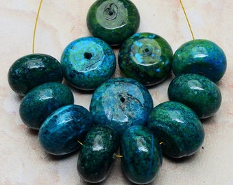 18mm/  Blue and Green /Chrysocolla Gemstone Rondelle / 18mm Beads  18mm Focal Beads