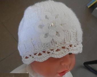 white newborn baby bonnet,gift for baby