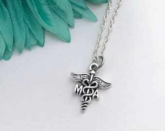 Medical assistant necklace -  MA with chain necklace - fun necklace - silver necklace with lobster clasp - great gift - comes wrapped