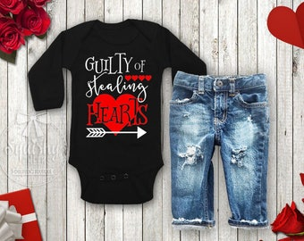 Baby Boy Valentines Outfit Boyu0027s Valentineu0027s Day Shirt Guilty Of Stealing  Hearts Shirt Toddler Boy Valentine