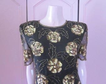 "1980s Black Silk Chiffon Evening Top with Embellishment, by ""Stenay,"" Size M"