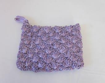 1960s Lavender Raffia Clutch Pcketbook