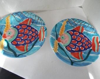 "set of 2 mid century modern Italian art pottery hand painted fish 10"" plates signed"