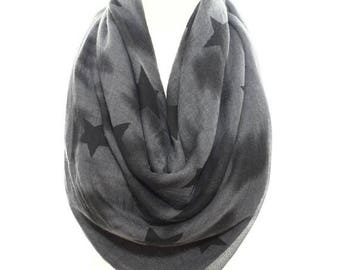 Star Scarf Grey Black Comfy Cotton Scarf Women Fashion Winter Accessories Fall Fashion Christmas Holiday Gift Ideas For Her For Him