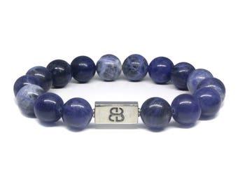 Sodalite Bracelet, Men's Sodalite and Sterling Silver Bracelet, Blue Beads Bracelet, Men's Bracelet, Silver and Blue Bracelet, For Men