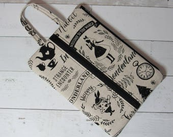 Large Alice in Wonderland Pencil / Craft Case, Cosmetics / Gadget Bag, Cord Case, School Supplies, Kokka Japanese Canvas, White Rabbit, Crm