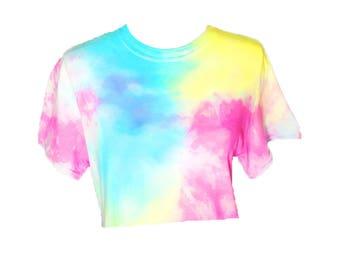 Pastel Splash Tie Dye Crop Top - Tiedye cropped tshirt - Pastel Tie Dye - Pastel Rainbow - Hand Dyed - Mermaid - Unicorn colors - Festival
