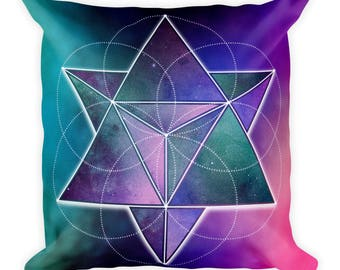 Square Pillow - Space Geometry Purple Triangles 1 Square Pillow