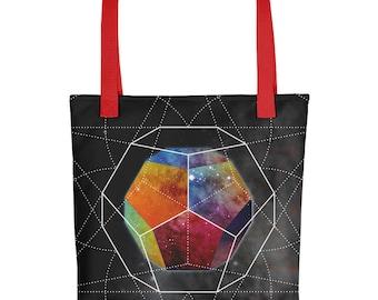 Tote bag - Space Geometry Rainbow Hex Tote Bag