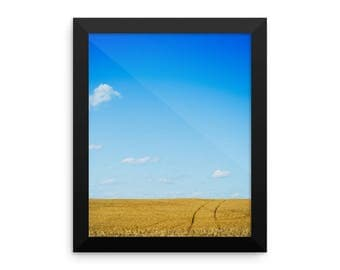 Framed photo paper poster - Red Silo Original Art - Wheat Tracks