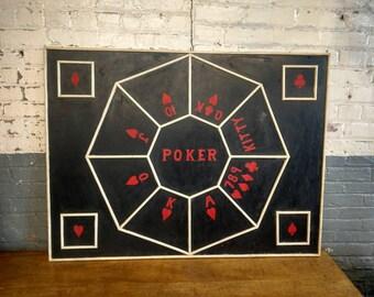 Poker Gambling Sign Original 1940s Handpainted Advertising Casino Game Board Bar Room