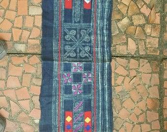 Hand woven Hmong hemp batik fabric natural indigo (H345)