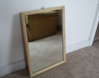 Vintage Painted Shabby Chic Mirror Cream and Gilt.