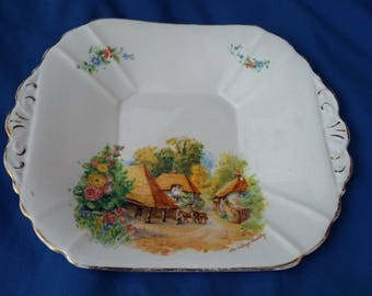 Classic Retro 1940's Sandwich Cake Plate. 'The Village Smithy'