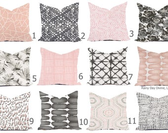 Pillow Covers Custom - Blush Millennial Pink Light Gray White Linen Look Ikat Tribal Modern- All sizes 16x16  18x18  Throw Accent
