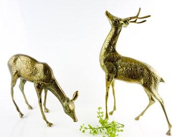 Pair of large vintage brass Deers/Doe/Buck