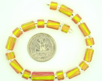 Matched Set of 19 Furnace Glass Cane Beads, Lime Yellow with Rose Stripes.