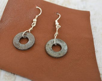 INDUSTRIAL// Industrial Jewelry// RE-PURPOSED Earrings// Metal Washer //Upcycled Jewelry//Leather Jewelry//Metal Jewelry