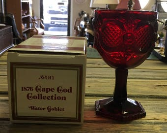 Avon Cape Cod - Ruby Red 1876 Cape Cod Collection - water goblet