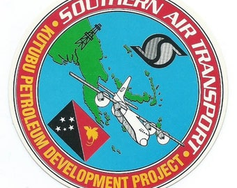 SAT Southern Air Transport sticker Kutubu Petroleum Development Project 3-1//8 dia CIA operated airline