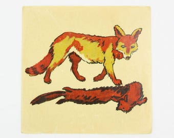 Antique / Vintage fox and fur water slide decal, 1920 or 30s French color transfer