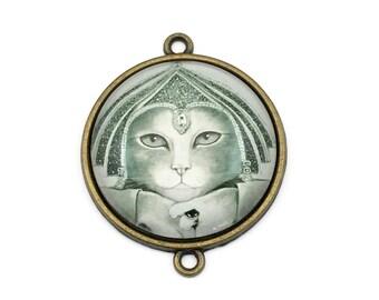 1  cat prince glass pendant /connector bronze tone,30mm # CON 211