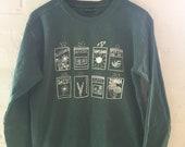 Flower  Sweatshirt, Garden Sweatshirt, Screenprinted Sweatshirt, Gardening Gift