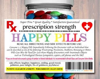 EDITABLE Happy Pills Label, Funny Gag Gift Professional Office Gift, Christmas Gift, Birthday Gift, Boss Gift, Cowork Gift Printable Label