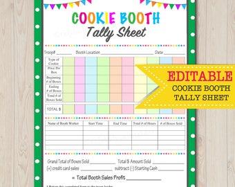 EDITABLE Cookie Booth Tally Sheet,  INSTANT DOWNLOAD, Troop Leader Printable, Cookies Sales Tracker, Cookie Booth Organizer