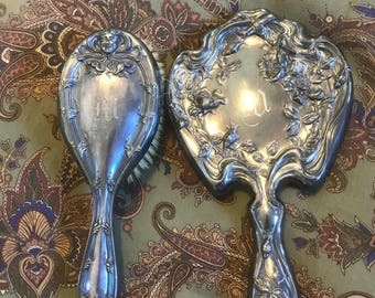 "BRUSH & MIRROR SET Antique Silverplate Monogrammed ""M"""