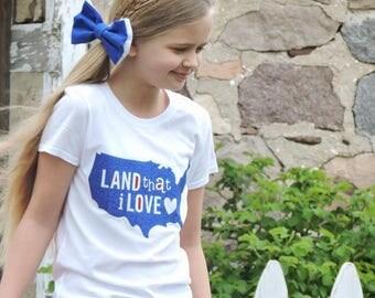 Girls 4th Of July Shirt, 4th of July Shirt, 4th of July, Girls Tee, Land that i love, Girls Patriotic Shirt, Youth 4th of july shirt