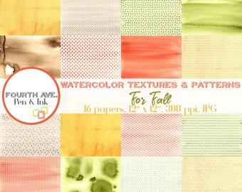 Watercolor Digital Paper, Watercolor Patterns, Texture, Fall, Autumn, Digital Paper, Digital Paper Pack, Scrapbook Paper, Digital Scrapbook