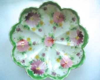 Flower Painted Bowl, Decorated Dish, Vintage Floral Hand Painted Bowl, Victorian Home, Cottage Decor, Painted Flowers Dessert Bowl, Antique