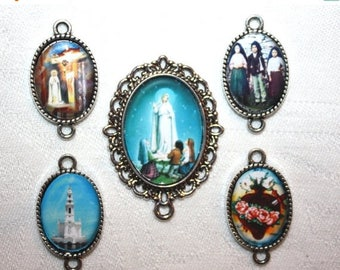 15%OFF SALE Your Choice of 1 set of Custom Our Lady of Fatima Antique Silver Rosary Parts~Fatima Center & 4 Fatima Pater Picture Medal - FRE