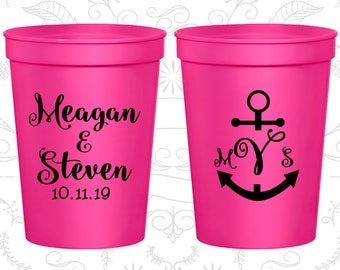 Neon Pink Stadium Cups, Neon Pink Cups, Neon Pink Party Cups, Neon Wedding Cups (14)