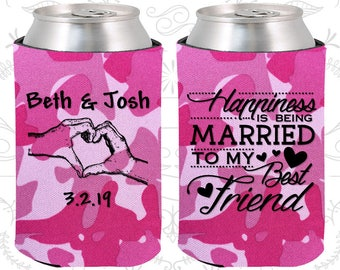 Happiness is Being Married to my Best Friend, Wedding Favors, Heart, Romantic Wedding Favors, Custom Can Coolers (511)